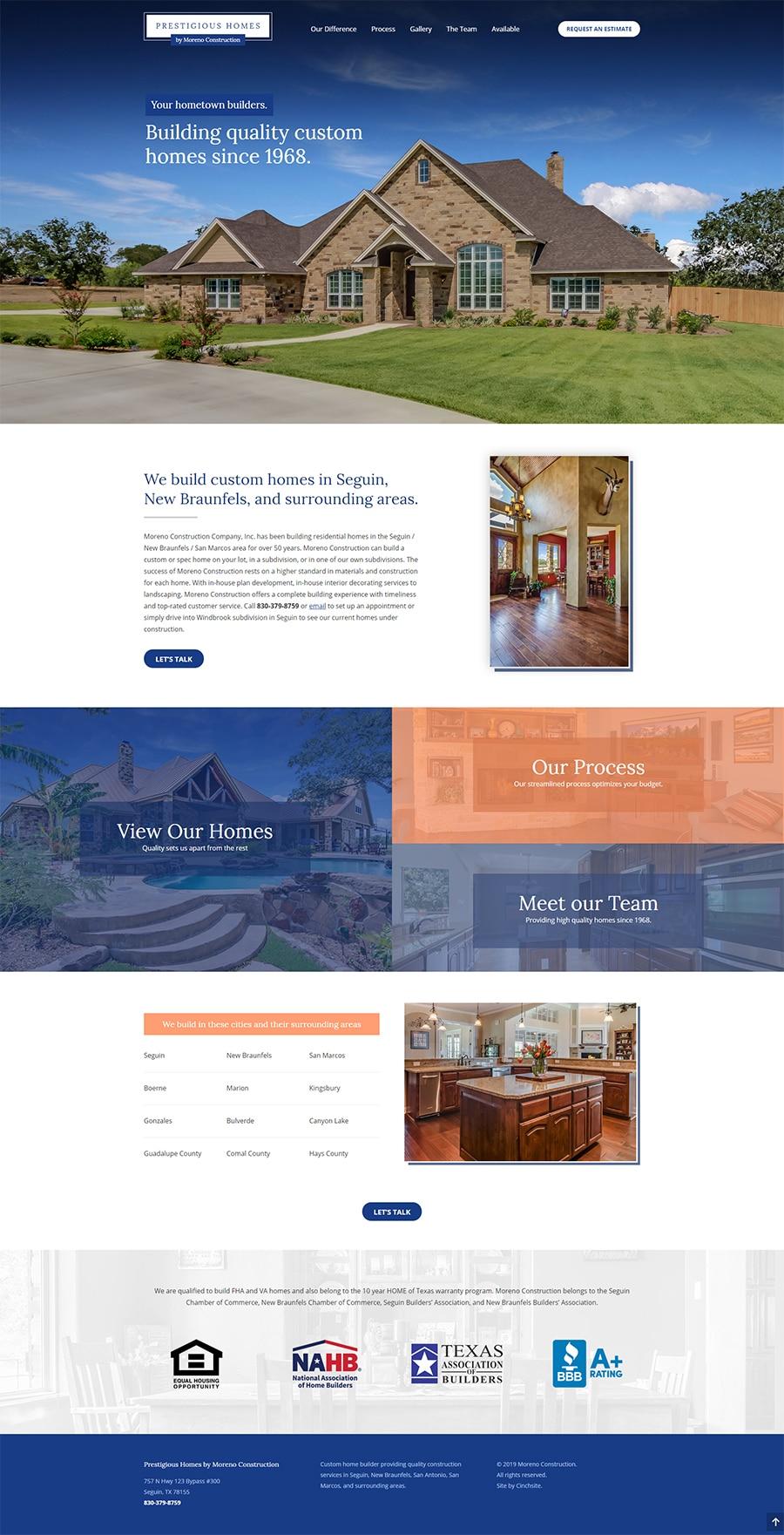 Custom home builder website in New Braunfels