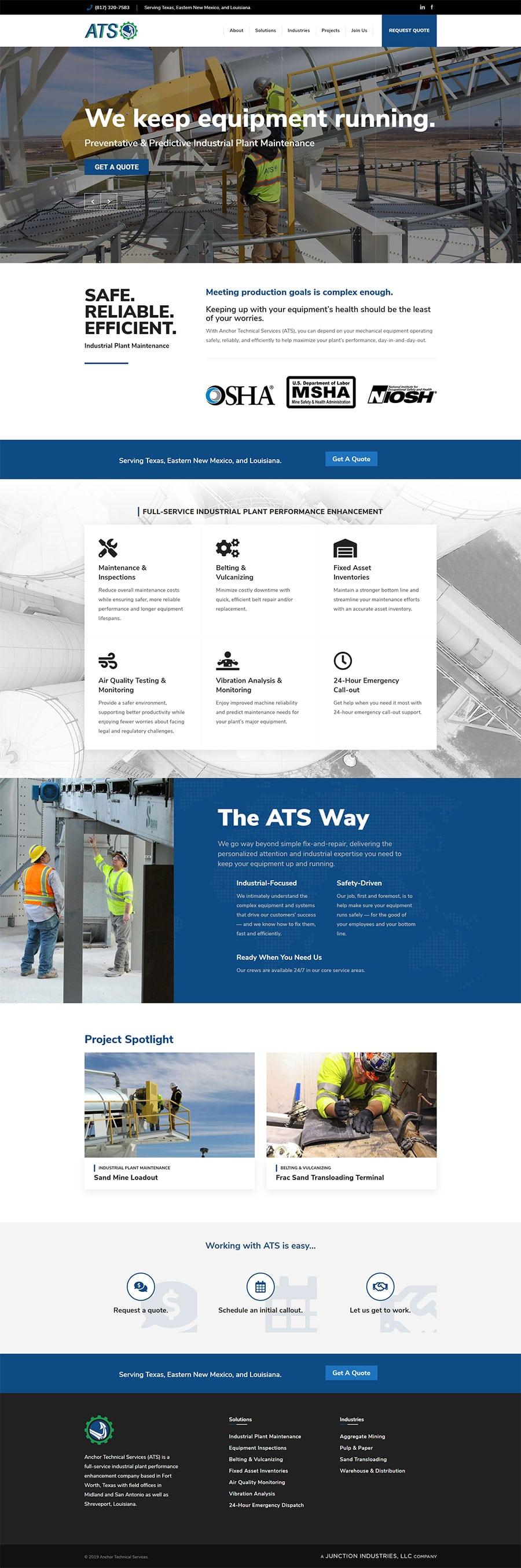 Industrial Website Design in Texas
