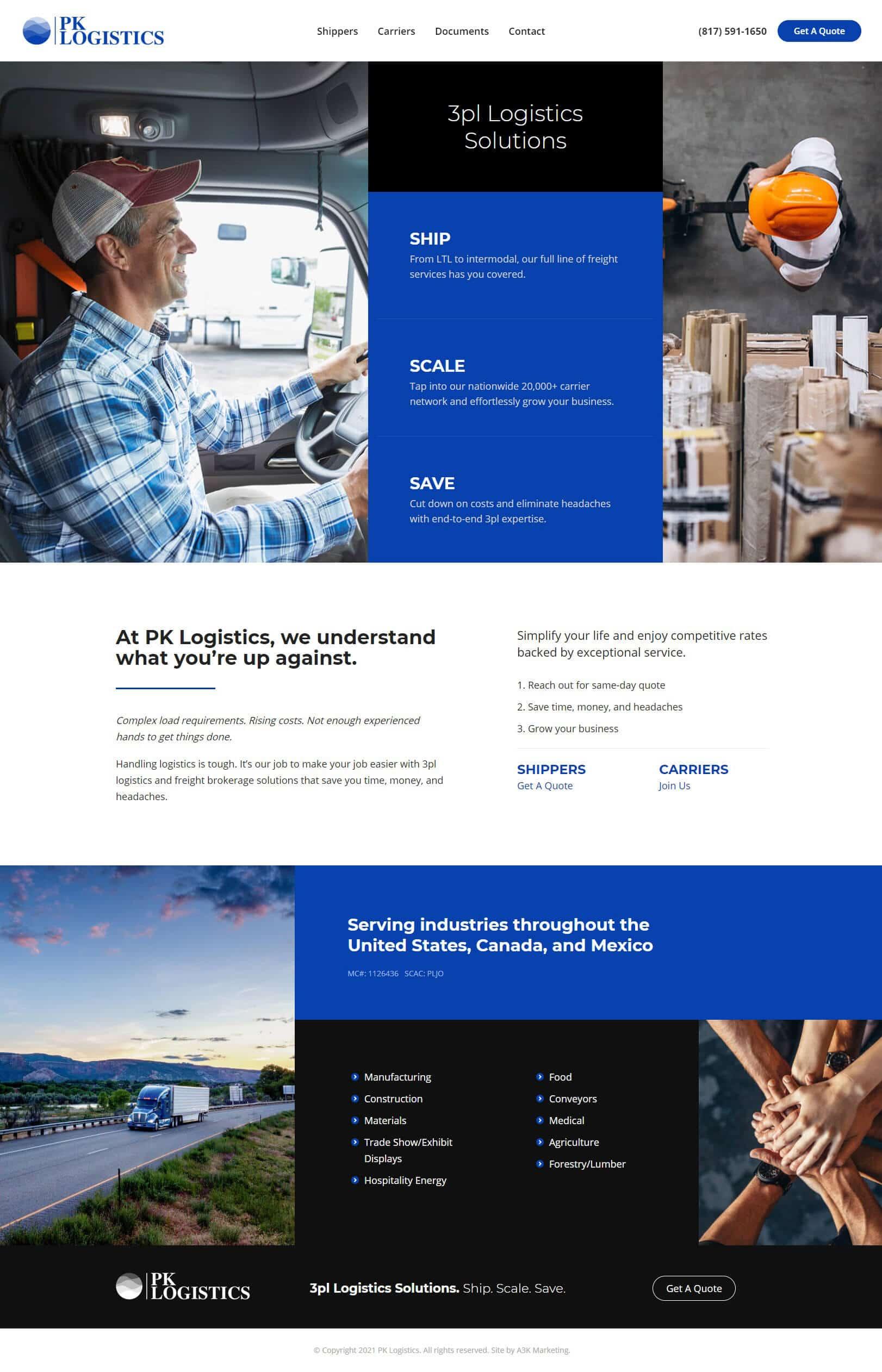 logistics web design company