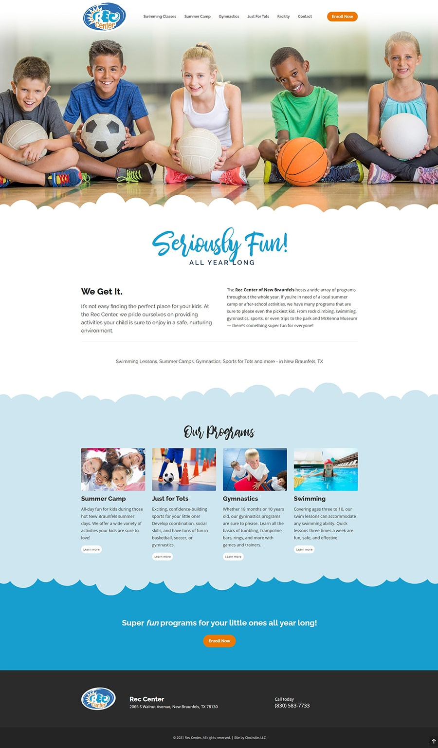 new braunfels rec center day camps web design by andrea garza