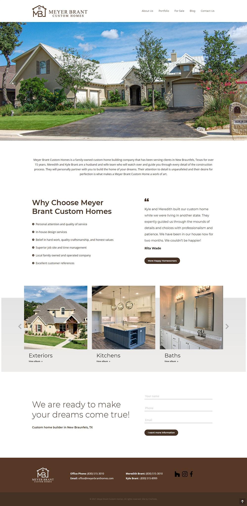 new braunfels web design for custom home builder